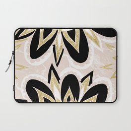 Modern black gold pink abstract floral pattern Laptop Sleeve