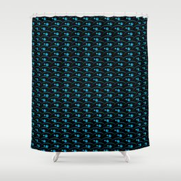 Kabuki in turquoise over black Shower Curtain