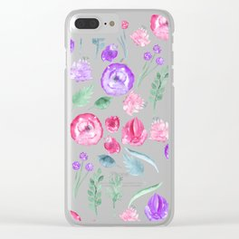 Modern magenta lavender pink hand painted watercolor floral Clear iPhone Case