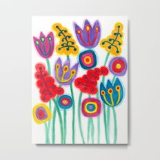 raw flower garden with tulips Metal Print