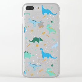 Dinosaurs in Space in Blue Clear iPhone Case