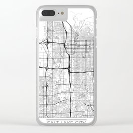 Salt Lake City Map White Clear iPhone Case