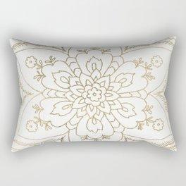 Chic elegant white faux gold spiritual floral mandala Rectangular Pillow