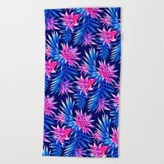 Aechmea Fasciata - Mid Blue/Pink Beach Towel