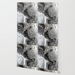 Fluid Acrylic Art - Black, Silver and White Wallpaper