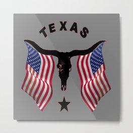 Patriotic American Flag Texas Longhorn Abstract Art Metal Print