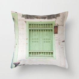 Green Window - Penang, Malaysia Throw Pillow