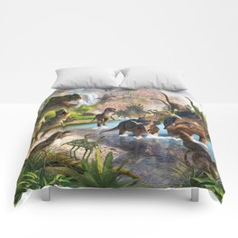 Jurassic dinosaurs in the river Comforters