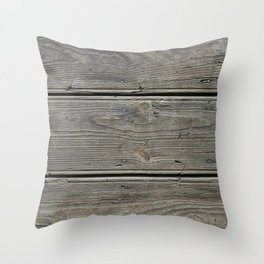 Old wooden board wall Throw Pillow