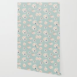 Dog Rose Pattern Mint Wallpaper