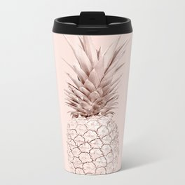 Rose Gold Pineapple on Blush Pink Metal Travel Mug