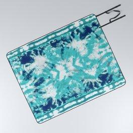Shibori Beach Aqua Picnic Blanket