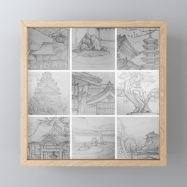 Sakura Japan sketches by David A Sutton. sketchbookexplorer.com Framed Mini Art Print
