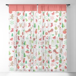 Happy New Year and Christmas Symbols Decoration Sheer Curtain