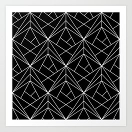 White Geometric Pattern on Black Background Art Print