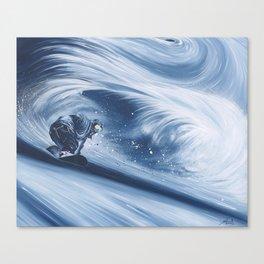 'Snowboarding Blue Blower' Canvas Print