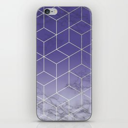Geometric Marble Ultraviolet Purple Gold iPhone Skin