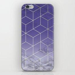 Geometric Marble Ultraviolet Purple Gold iPhone Skin