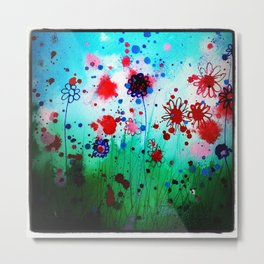 Red and Blue flowers  Metal Print