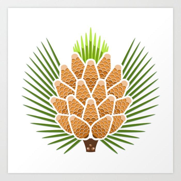 White Pine Cone and Tassel Art Print by gutterrabbit   Society6