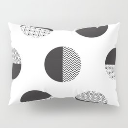Monochrome semicircles and circles background Pillow Sham