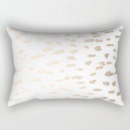 Gold Modern Polka Dots on White Rectangular Pillow