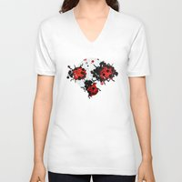 bugs V-neck T-shirts featuring Splattered bugs by Condor