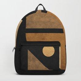 Geometric Harmony Black 03 - Minimal Abstract Backpack