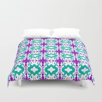 kurt rahn Duvet Covers featuring Kurt - Symmetrical Digital Art in Aqua, Purple and White by Renee Dillon Art