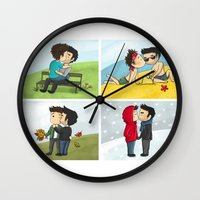 sterek Wall Clocks featuring Sterek kisses by agartaart
