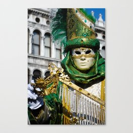 Traditional Venetian carnival costume at the San Marco Square Canvas Print