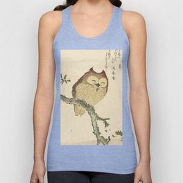 Japanese Woodcut: Owl on a Magnolia Branch Unisex Tank Top