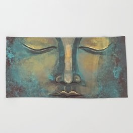 Rusty Golden Copper Buddha Face Watercolor Painting Beach Towel