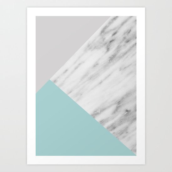 Ice Color Marble Collage Art Print