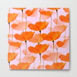 Orange Poppies On A Pink Background #decor #society6 #buyart Metal Print