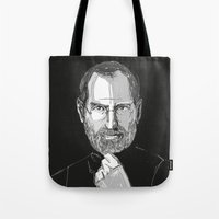 steve jobs Tote Bags featuring Steve Jobs by 1and9
