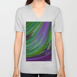 Purple Green Contemporary Abstract Unisex V-Neck