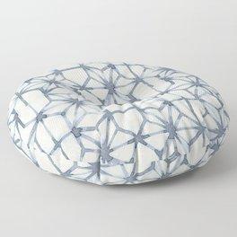 Simply Shibori Stars in Indigo Blue on Lunar Gray Floor Pillow