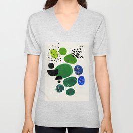Fun Abstract Minimalist Mid Century Modern Colorful Shapes Lime Green Blue Watercolor Bubbles Unisex V-Neck