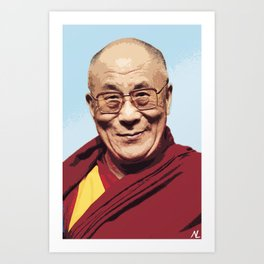 His Holiness the 14th Dalai Lama Celebrity Portrait Illustration Buddhist Pop Art Tibet Home décor Art Print