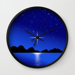 Star Horizon 103 Blue Sky Stars Wall Clock