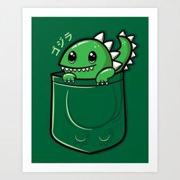 Pocket Godzilla Art Print