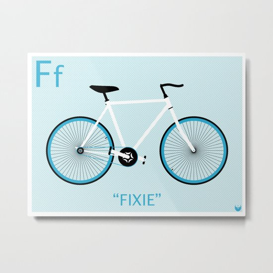 """""""F is for Fixie"""" Metal Print"""