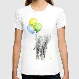Elephant with Three Balloons T-shirt