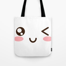 CUTE ANIME JAPANESE EMOJI/EMOTICON WINKY FACE Tote Bag
