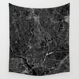 Washington D.C. Black Map Wall Tapestry