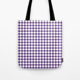 Small Diamonds - White and Dark Lavender Violet Tote Bag