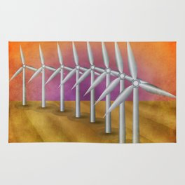 Windfarm at sunset Rug