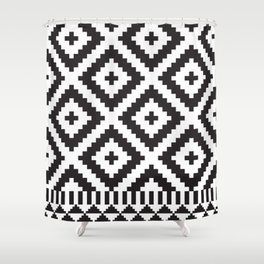 Black and White Geometric Tribal Pattern Print Shower Curtain