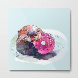 Otter Donut Metal Print
